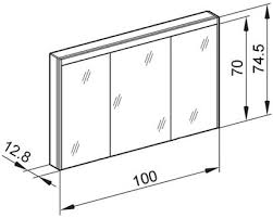 schneider badezimmer spiegelschrank o line led 100 cm weiss 3 türig