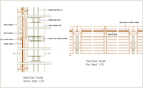 Structural View Of Glass Mounting Dwg File