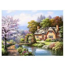 100 River House Decor 5D DIY Diamond Painting Kit Craft Needlework Home Gifts