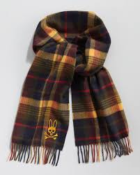 psycho bunny tartan plaid cashmere scarf in yellow for men lyst