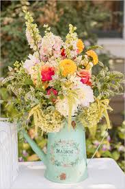 Flowers In Rustic Pitcher For Wedding Decor Ideas
