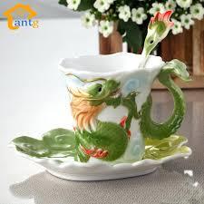 Enamel Porcelain Coffee Mugs Dragon And Phoenix Cup Tea Set Bone China For Birthday
