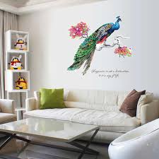 bunte pfau auf einem ast wand aufkleber wohnzimmer schlafzimmer dekoration hintergrund wandbild kunst decals abnehmbare aufkleber