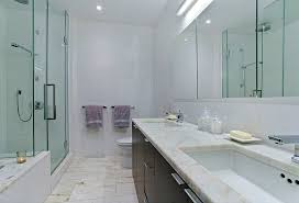 contemporary master bathroom with flush by the corcoran group