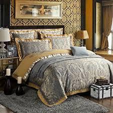 Zangge Bedding Luxury Satin Jacquard Paisley Bedding Sets Include
