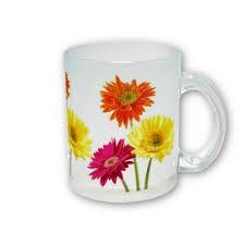 Gerbera Daisies Frosted Glass Coffee Mug