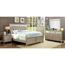 Eastern King Platform Bed by Furniture Of America Briella Bedroom Set In Silver Local