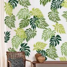 Tropical Trend Stencils Palm Leaves Wall Pattern Wallpaper