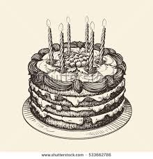 Happy Birthday Cake with burning candles Sketch vector illustration