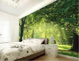 wald motive im tollen schlafzimmer mit fototapeten