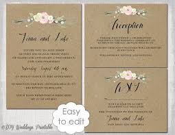 Rustic Wedding Invitation Templates DIY Flowers Printable Template Suite Kraft White Editable Digital Download