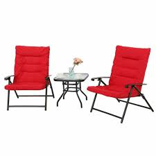 Shop For PHI VILLA Patio 3 PC Soft Padded Folding Chair Set ...