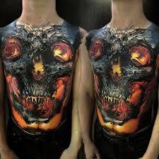 Glowing Skull Mens Large Body Tattoo