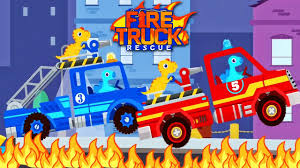 Dinosaur Fire Truck Rescue | Videos For Toddlers - Best Baby Games ...