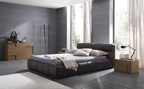 Interior Design Masculine Bedroom Block Board Stained Frame Bed Dark Brown Cubical Nightstand Grey Fabric Sectional Carpet Beautiful Table Lamps