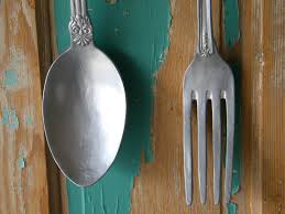 Wooden Fork And Spoon Wall Hanging by Wall Arts Large Knife Fork And Spoon Wall Art Giant Knife Fork