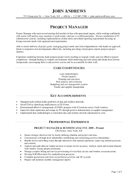 Core Competencies Project Manager Resume