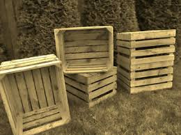 Image Is Loading 4 X VINTAGE WOODEN APPLE CRATES STORAGE BOX