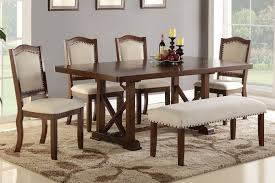 Poundex F2398 F1548 Cherry Wood 6 Pieces Leaf Dining Table Set Bench