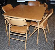 Tan Card Table W/ 4 Padded Folding Chairs | Epic Auctions ... 7 Best Folding Card Tables 2017 Chair Long Table And Padded Chairs Cosco 5 Piece Set 5pc Xl Series And Ultra Thick Black White Plastic Large Black Card Table Sim Smatch Wikipedia 1950s Four Kids Colorful Vintage Metal Of 2 Brown Creme Vinyl Retro Mid Century Extra Seating Kitchen Ding Fniture Charming Pretty Wood