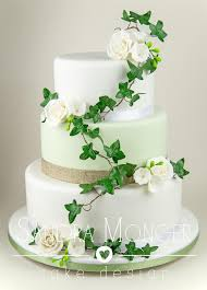 Soft Sage And Hessian Wedding Cake With Sugar Roses Ivy