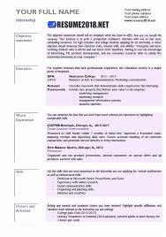 Internship Resume Examples 2018