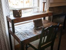 Repurposed Pallet Wood Desk Tiered with Metal Legs