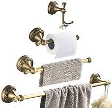 womao handtuchhalter antik messing vintage wandmontage badezimmer zubehör set zum bohren 4er set duschwand retro landhausstil handtuchhaken