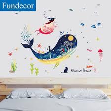 großhandel fundecor submarine wal tier wandaufkleber für kinderzimmer baby mädchen schlafzimmer bad fliesen wandtattoos wandbild diy wohnkultur