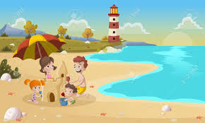 Cartoon Family Building Sand Castle On Beautiful Beach Stock Vector