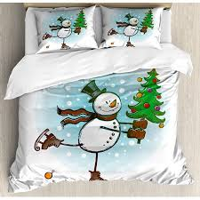 Snowman King Size Duvet Cover Set Hand Drawn Style Skating With Christmas Tree And