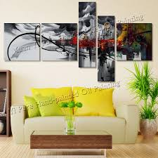 5 stück kunst handgemalte das stadtwolke abstrakte ölgemälde auf leinwand schwarz weiß und rot wandbilder wohnzimmer wand bilder