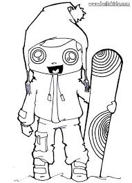 Snowboarding Girl Coloring Page