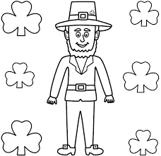 Leprechaun Coloring Page With Shamrocks St Patricks Day Pages For Kids Online