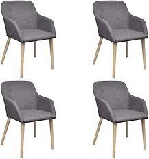 vidaxl 4x eiche massiv esszimmerstuhl hellgrau stoff küchenstuhl stuhl sessel