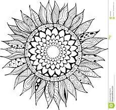 Dessin De Vecteur De Fleur De Tournesol Illustration Tirée Par La Main D Isolement Sur Le Coloriage Tournesol