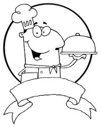 Chef Clipart Image Black and White Smiling Chef With a Tray of Food