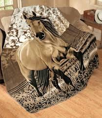 Amazon Western Horse Soft Fleece Throw Blanket 63