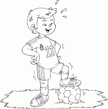 Soccer Boy Standing On Ball Coloring Pages