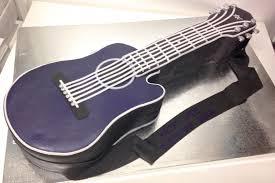 Purple Black Acoustic Guitar Cake