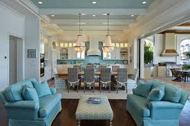 Coastal Home Decor Glam Kitchen Blue Shell Chandeliers Wicker Furniture Couches White With Colorful