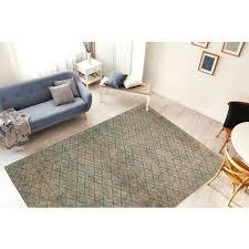 teppich rauten muster modern wohnzimmer vintage grün beige khaki 160cm x 230cm