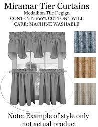 miramar tailored tier curtains available in 3 colors