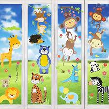 wimaha fenstersticker tiere fensterfolien fensterdeko fensterbilder fensteraufkleber für wohnzimmer schlafzimmer kinderzimmer 30x40cm