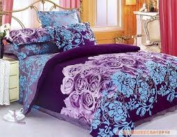 purple blue flowers design queen bed quilt comforter duvet cover