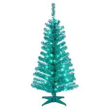 Pencil 6ft Pre Lit Christmas Tree by Red Tiffany Tinsel Pre Lit Christmas Tree By Sterling Tree Company