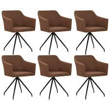 vidaxl esszimmerstühle drehbar 6 stk braun stoff gitoparts