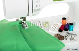 sewing on the sewing mashing and sewing supplies