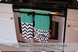 DIY Tutorial Kitchen Accessories Teal Chevron Towels