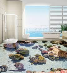 schmücken your home tür tapetenwandbilder 3d fisch und stein boden badezimmer große größe pvc wasserfall blumen anpassen